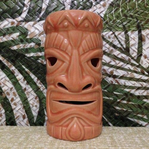 Tiki Mask Tea Light Candle Holder Lamp Statue Ceramic Votive Luminary