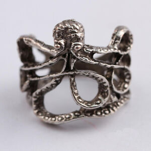 Antique Silver Style Octopus Tentacle Ring - Pirate Nautical Steampunk Goth