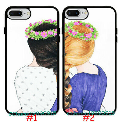 Cute Girl BFF Best Friend Rubber Phone Case Cover For iPhone 7 8 XS