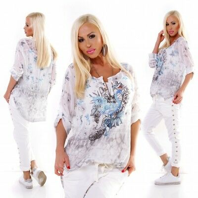 Italienische Damen Langarm (Buntes Damen 2in1 Langarm Shirt Oversize Bluse Print 36 38 Italy Mode grau)