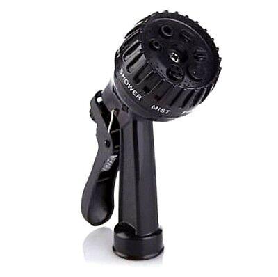 Black 7-Way Garden Spray Hose Nozzle Full Flat Jet Shower Mist Fine Vertical TV