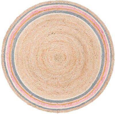 Indian Jute Rug Round Floor Dhurrie Braided Handmade Reversible Floor Rugs Mat