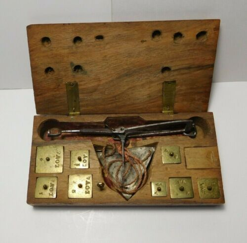 Antique Apothecary Jewelry Scales Brass Weights Hand Made Wooden Box