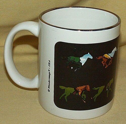 HORSE MUG WONDERMUGS WONDER CUP MARE COLT HEAT ACTIVATED RUNNING LAKE MOUNTAINS.