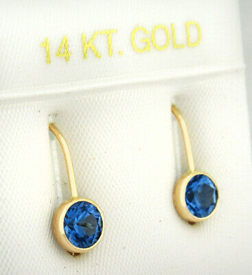 BLUE SAPPHIRE 1.10 Cts DANGLING EARRINGS 14K YELLOW GOLD * New With Tag *