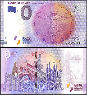Zero - 0 Euro Europe, 2016-2, UNC, Homme De Vitruve, Leonard De Vinci in France