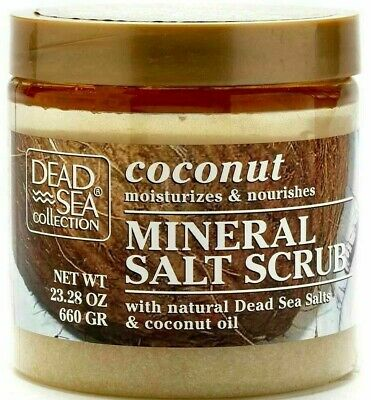 Dead Sea Scrub: Mineral Dead sea Salt & coconut oil Bath Body Scrub Large 660g