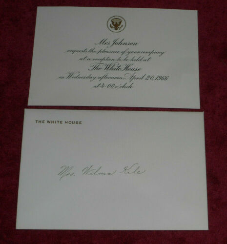 1966 White House Reception Invitation From First Lady Mrs. Johnson To Wilma Kile