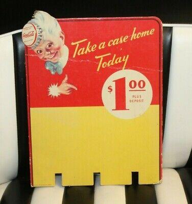 "1947 Coca-Cola ""Take a Case Home + Spriteboy Logo"" Cardboard Rack Ad Sign"