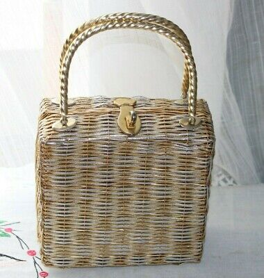 1950s Handbags, Purses, and Evening Bag Styles Vintage DELILL by Hashimoto 1950's gold silver woven metal box purse hand bag  $45.99 AT vintagedancer.com
