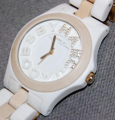 Marc by Marc Jacobs Women's White/Cream Platic Band Watch MBM8528 NEW BATT