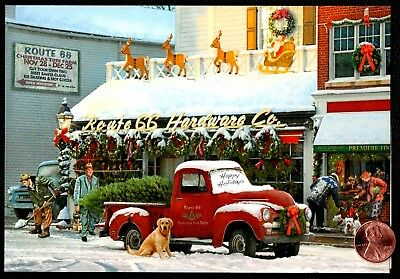 Christmas Truck Dog Puppy Reindeer Tree Farm Snow Christmas Greeting Card - NEW