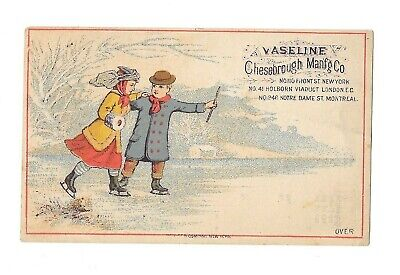 Vintage Trade Card VASELINE CHESEBROUGH MFG Elixir Vitae ice skating