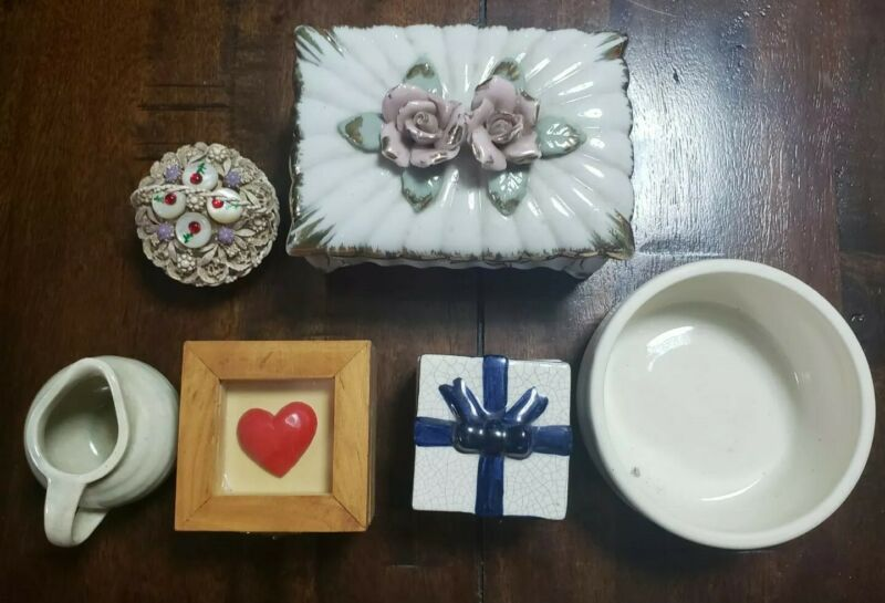 Trinket Box Lot (4) Small Bowl and Pitcher