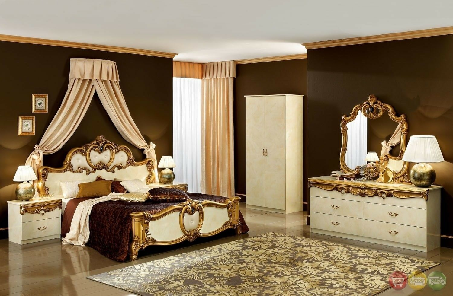 Esf Barocco Traditional Ivory Color Classic Italian King Size Bedroom Set Bedroom Sets