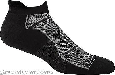 USA DARN TOUGH MEN'S BLACK/GRAY RUN/BIKE 1722 MERINO WOOL NO SHOW SOCKS LARGE M - Show Bike Sock
