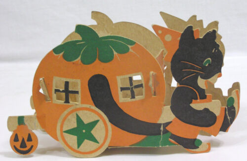 Vtg HALLOWEEN Stiff Paper Diecut Anthro Cat and Pumpkin Candy Cart 1930s