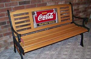 Coca Cola Coke Cast Iron Soda Fountain Park Wood Bench With Tag Original Ebay