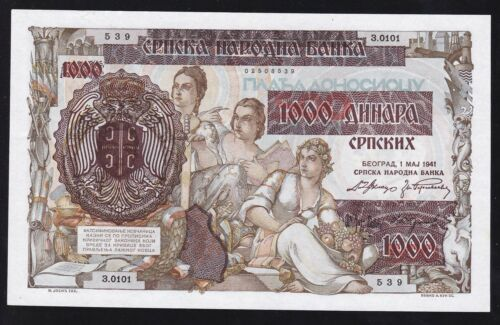 SERBIA --- WW2 ---- 1000  DINARA  1941 ----- a-UNC/UNC -----