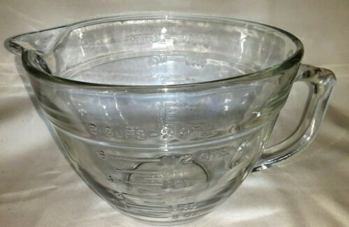 Vintage Anchor Hocking 2 Qt 8 Cup Clr Glass Measuring Cup Batter Mixing Bowl USA