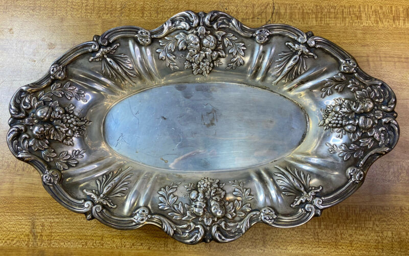 Reed & Barton Frances Sterling Silver Oval Bread Tray X568 Vintage Rare