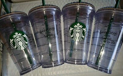 Lot of 4 Starbucks Greetings From Sunny Florida 16 oz Tumbler Reusable Cup Straw