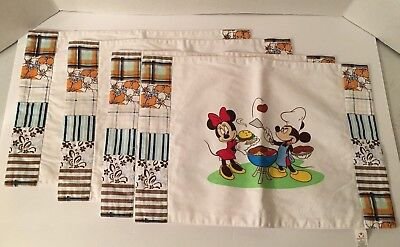 4 Disney Store Dinner Lunch Placemats Summer Fun BBQ Grill Mickey & Minnie Mouse