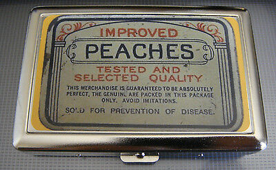 Peaches D 01 Metal Silver Cigarette Case Vintage Condom Lifestyles Ad Essentials