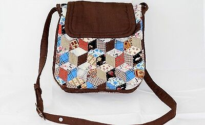 Applique Quilted Purse Handbag Shoulder Bag Fully Lined Brown Magnetic Closure