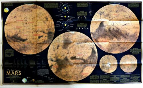 ⫸ 1973-2 February MARS The Red Planet – RARE National Geographic Map Poster A2