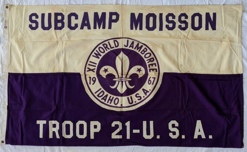 1967 12th World Jamboree Moisson Subcamp Flag Idaho Boy Scouts of America BSA
