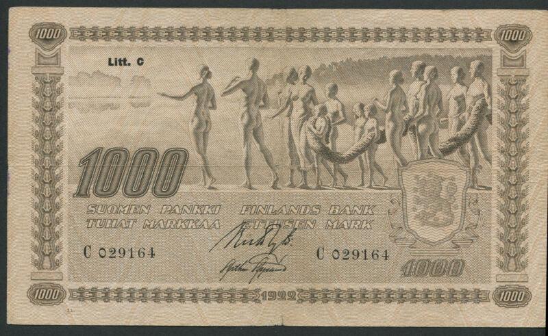 Finland 1000 Markkaa 1922, Pick: 67, Litt. C,  Series: C 029164, F
