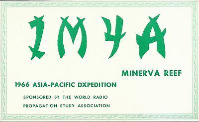 OLD VINTAGE IM4A MINERVA REEF 1966 ASIA-PACIFIC AMATEUR RADIO QSL CARD
