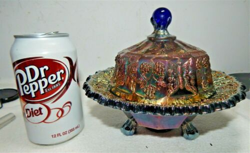 Vintage Fenton Cobalt Blue Carnival Glass Covered Butter Dish/ Butterfly + Berry