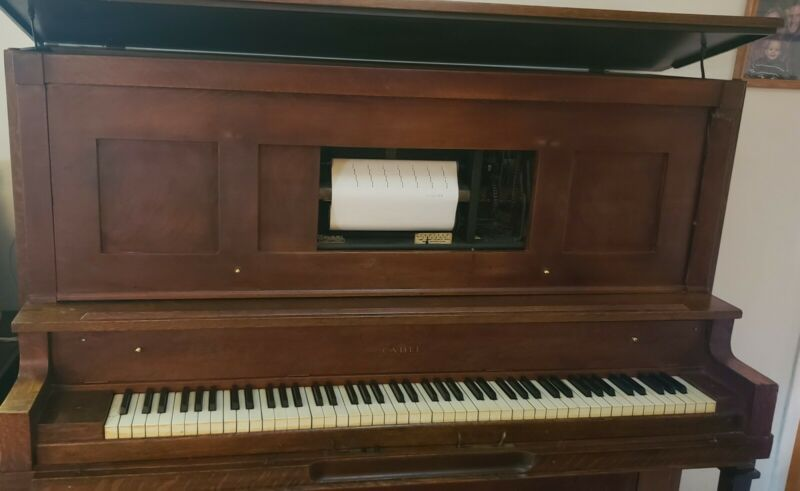Vintage player piano Cable  & Sons, as is
