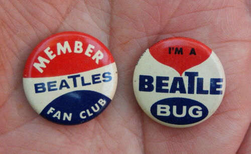 Two Seltaeb 1964 Vintage Beatles Green Duck Co. Fan Club Pins