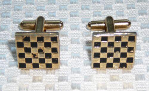 "Vintage Gold Tone Cuff Links Black Checkerboard Square 5/8"" French Cuffs"