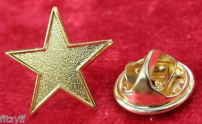 Gold Star Lapel Pin Badge Five-pointed Pentagram Brooch