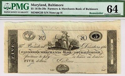 Maryland  5 Farmers   Merchants Bank Baltimore  Pmg 64 Choice Uncirculated  Nice
