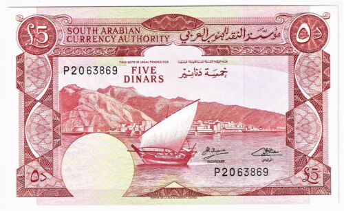 Yemen Democratic Republic: 5 Dinars ND (1965). Gem Uncirculated.