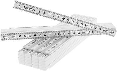5x Zollstock aus Kunststoff, 2 Meter Gliedermaßstab mit 10 Glieder, weiß