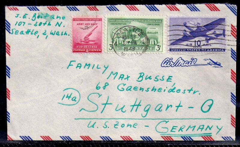 1949 Airmail - Seattle, Washington to Stuttgart, Germany - US Zone