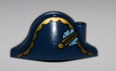Lego Minifig Headgear Hat Pirate Bicorne w/ Gold Trim Gold Button and Flower