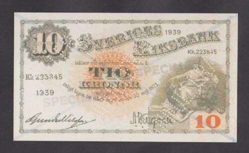 SWEDEN  10 Kronor 1939  UNC  *SPECIMEN*  REPRODUCTION