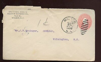 Us Southern Stationery Advertising Cover  Branch Banking  1900 Wilson  Nc