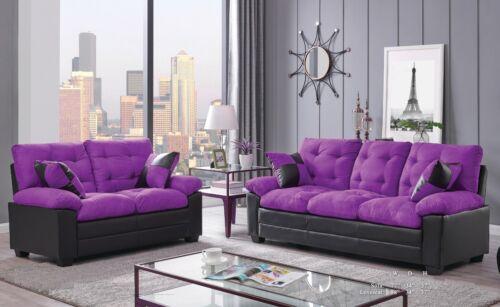 Sofa Loveseat 2pc Set Plush Comfort Tufted Purple Black Microfiber Family Couch