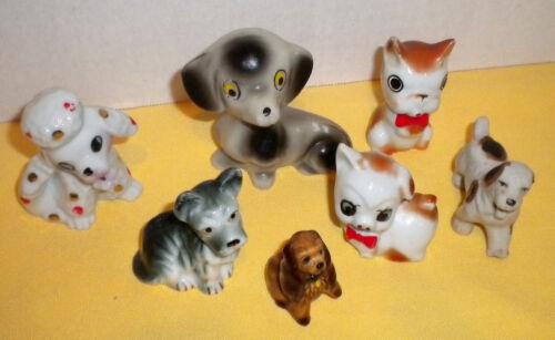 Lot of 6 Vtg Dog Puppy Poodle Spaniel Figurine Miniature Porcelain Japan