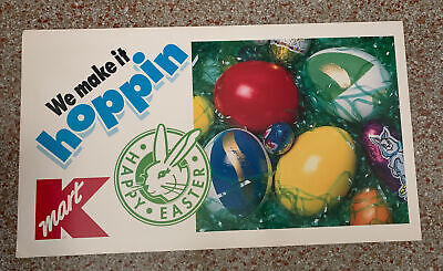 """Lot of 7 Vintage KMART K-Mart Cardboard Easter Signs """"We make it Hoppin'"""""""