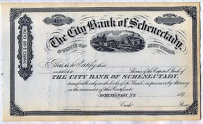 The City Bank of Schenectady Stock Certificate New York