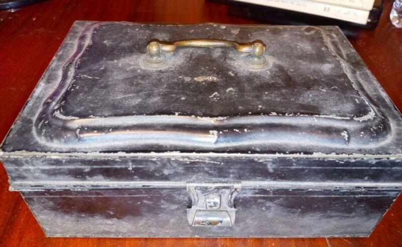 Vintage Antique Black Tin Lock Box, Cash & Deed Box, Strong Box